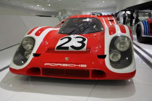 Chassis 001, never raced but presented in the museum in the historic colors of the 1970 Le Mans win, first ever for Porsche with Hans Herrmann and Richard Attwood.
